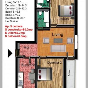 3 Camere NEW APPLE RESIDENCE Drumul Dragonul Rosu cu loc de parcare